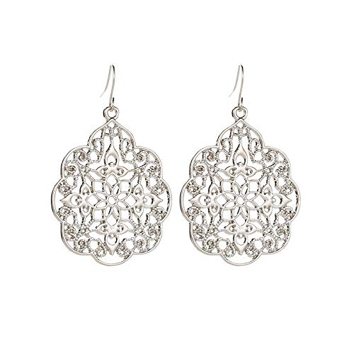 Boho Earrings for Women, Mitiy Statement Filigree Dangling Lightweight Vintage-Style Drops Silver