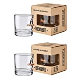 [set of 2] The Original BenShot Bullet Rocks Glass with Real 0.308 Bullet Made in the USA