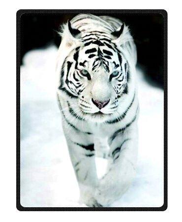 Bengal Tiger Blue Eyed Royal White Throw Blanket 58