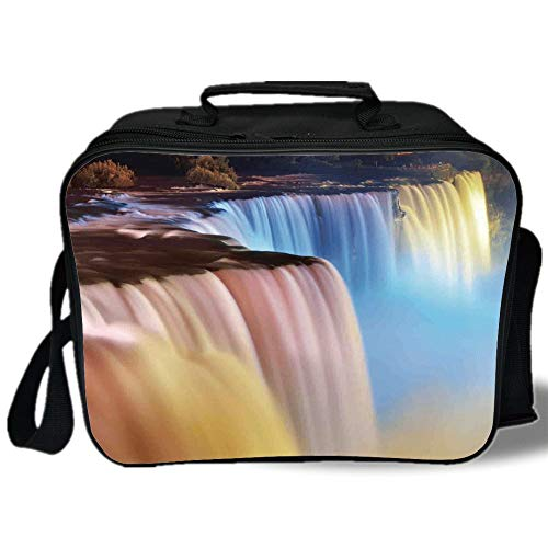 Insulated Lunch Bag,Waterfall,Niagara Falls Colorful Cascade Stream at Night View Waterfall Scenic Picture,Multicolor,for Work/School/Picnic, - Summit Cascade