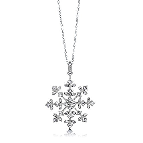 - BERRICLE Rhodium Plated Sterling Silver Cubic Zirconia CZ Snowflake Fashion Pendant Necklace 18
