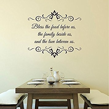 Wall Decal Decor Bless The Food Before Us Wall Decal - Dining Room Vinyl Lettering - Kitchen Wall Decal - Prayer Wall Decal(Black, 20