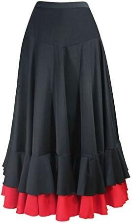Falda de flamenco para mujer, negra - rojo, 2 volantes, tallas: S ...
