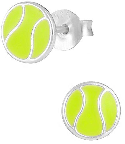 Hypoallergenic Sterling Silver Tennis Ball Sports Stud Earrings for Kids (Nickel ()