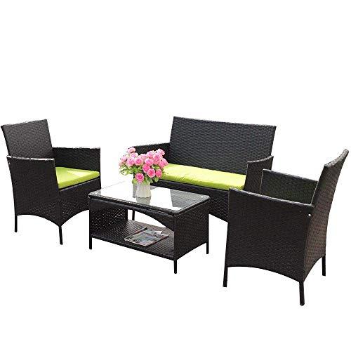 (Leisure Zone 4 PCS Patio Furniture Outdoor Garden Conversation Wicker Sofa Set, Green Cushions)