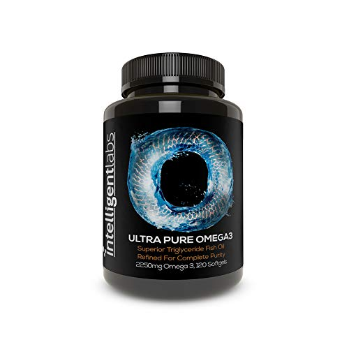 Intelligent Labs Triglyceride Omega 3, 2250mg EPA and DHA Per Serving, Burpless Fish Oil Capsules, GOED certified, 3rd Party Heavy Metal, PCB, and Oxidation Tested - 120 Softgels Per Bottle!