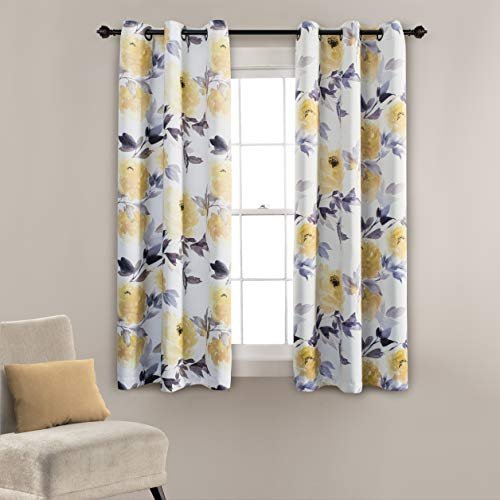 MYSKY HOME Printed Floral Curtains for Living Room, Room Darkening Grommet Curtain Panels 42 inch Wide by 63 inch Length (Yellow, 1 Pair) (63 Inch Thermal Curtain Pair)