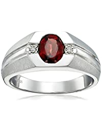 Men's Sterling Silver Garnet and Diamond Gents Ring (0.04cttw, J-K Color, I3 Clarity), Size 10.5