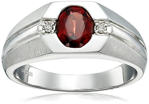 Men's Sterling Silver Garnet and Diamond Gents Ring (0.04...