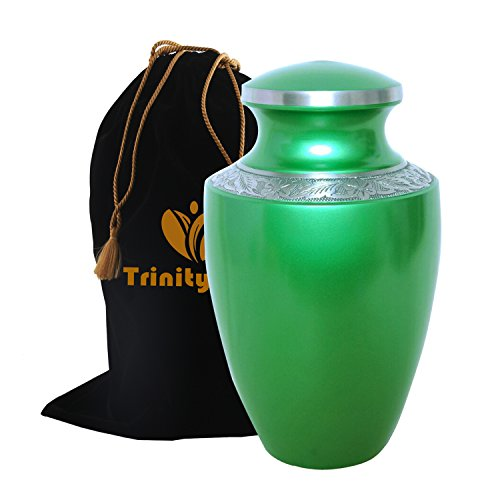 Grecian Green Cremation Urn - Beautifully Handcrafted Adult Funeral Urn - Solid Metal Funeral Urn - Affordable Urn for Human Ashes with Free Velvet Bag ()