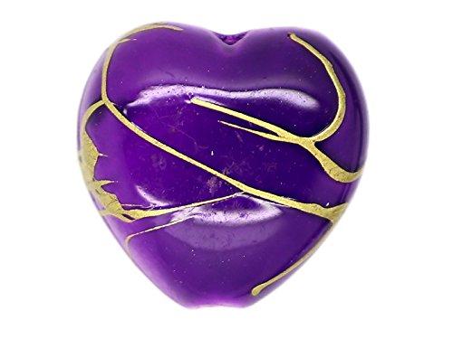 10 x Perle Coeur Violet 14mm