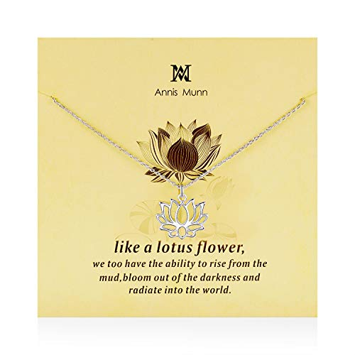 Annis Munn Lotus Necklace - 925 Sterling Silver Flower Pendant Necklace, Dainty Lotus Charm Valentine's Day Jewelry Birthday Gift for Girls and Women