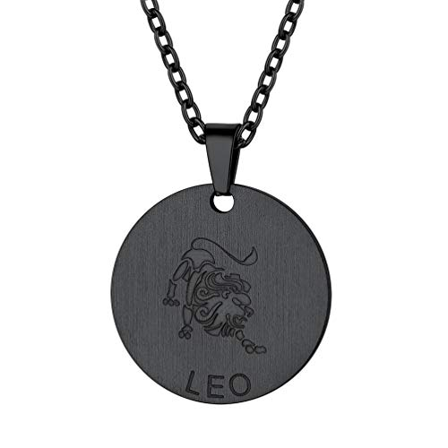 PROSTEEL Leo Zodiac Star Sign Coin Necklace Black Constellation Horoscope Pendant Celestial Astrology Men Women Jewelry Birthday Gift