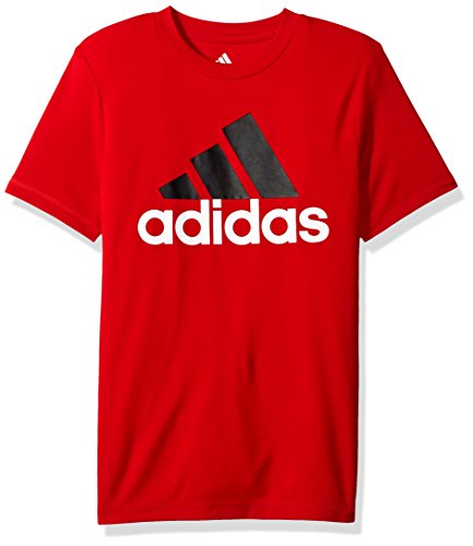 Adidas Short Sleeve Tee - adidas Big Boys' Short Sleeve Logo Tee Shirt, Red, M