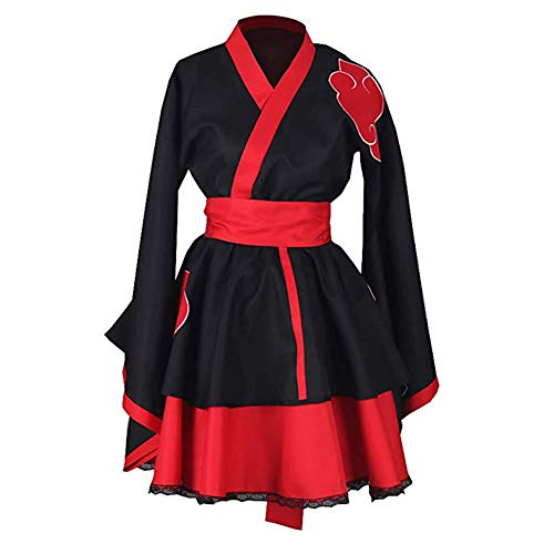 Classical City Naruto Shippuden Akatsuki Organization Female Lolita Kimono Dress Anime Cosplay Costume 3 Pcs (L) Black ()