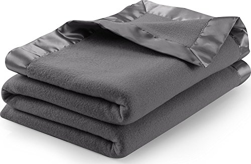 Sateen Polar Fleece Blanket (Queen, Grey) - Extra Soft Brush Fabric, Super Warm Bed Blanket, Lightweight Couch Blanket, Sateen Ribbon Edges, Easy Care - by Utopia Bedding