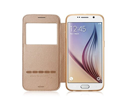 Samsung Galaxy S6 Case, G-CASE Sense Sliding to Answer Incoming Calls Flip Smart Wallet Window View PU Leather Back Case Cover for Samsung Galaxy S6 + TJS® Tempered Glass Screen Protector & Stylus Pen (S6 Gold)