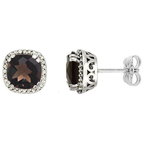 - 10k White Gold Diamond Halo Natural Smoky Topaz Stud Earrings Cushion Shaped 7x7 mm