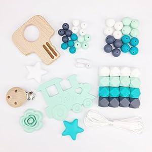 Mamimami Home DIY Collar de enfermer/ía Cuentas de dentici/ón Pulsera De Silicona Dientes de beb/é Tren Pinzas para chupete Encantos de la enfermera