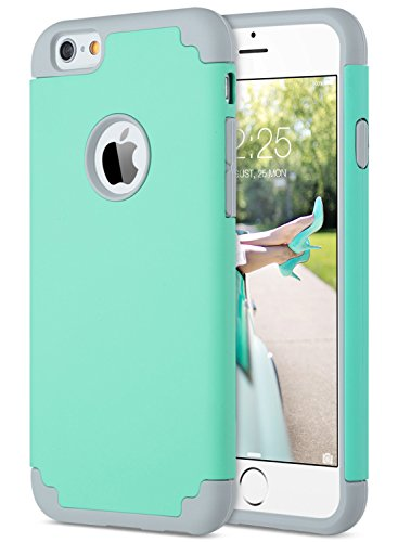 (ULAK iPhone 6S Case Mint Green,iPhone 6 Case, Slim Dual Layer Soft Silicone & Hard Back Cover Bumper Protective Shock-Absorption & Skid-Proof Anti-Scratch Hybrid Case-Turquoise/Grey)