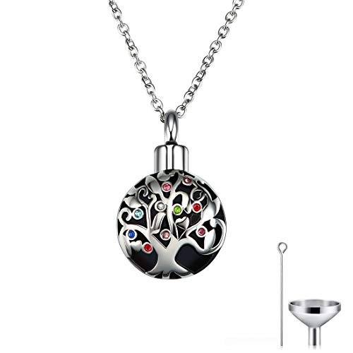 CAT EYE JEWELS Memorial Urn Necklace Tree of Life Cremation Keepsake with Funnel Kit