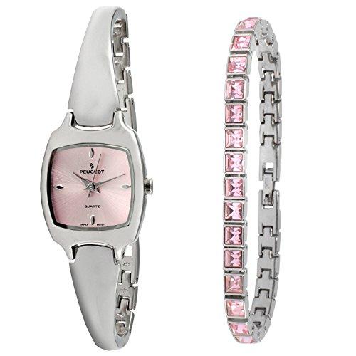 Peugeot Women Silver Watch & Crystal Tennis Bracelet Gift Set