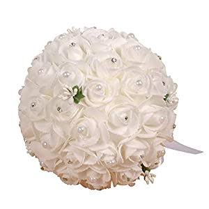 Wedding Bouquet, Large Size Bridesmaid Bouquet Bridal Bouquet with Soft Ribbon, Artificial Rose Flower for Wedding, Party and Church (White Large Size) 92