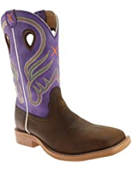 Twisted X Youth Unisex Purple Leather Ruff Stock Cowboy Boots