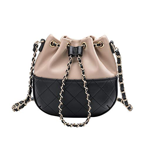 Melie Bianco Kathy Two Tone Vegan Drawstring Bucket Chain Shoulder Bag, Black/Nude ()