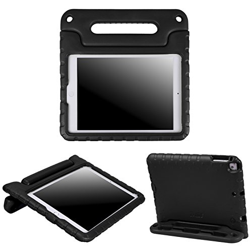 HDE Kids Case for iPad Air 1 and 2 - Shockproof Bumper Kid Friendly Cover w/Adjustable Handle Stand (Black)
