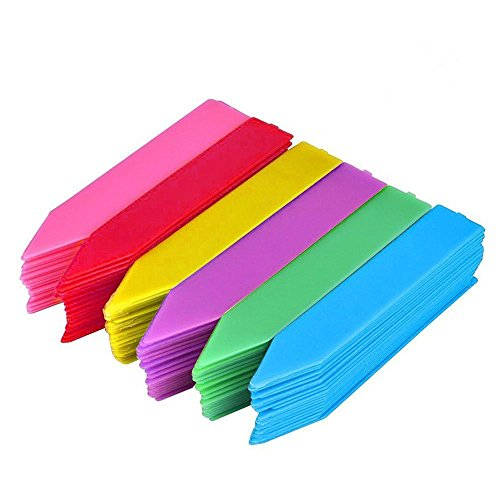 KINGLAKE 150 Pcs 4 Inch Thick Plastic Plant Garden Labels Nursery Seed Garden Plant Stake Tags 6 Colors ()