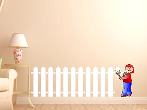 (Kid's Wall Painting White Picket Fence Decal Cute for Nursery Boy or Girl room VINYL Sticker Room Decoration)