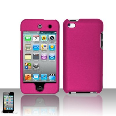 Premium Rubberized Snap-on Hard Crystal Front and Rear Case Cover for Apple iPod Touch 4G, 4th Generation, 4th Gen - Hot Pink compatible with 8GB / 32GB / 64GB (Apple Ipod 4th Generation 32gb)