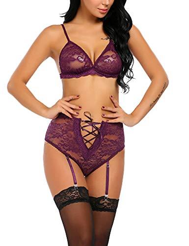 Avidlove Women Sexy Lingerie Bustier Corset Lace Teddy Bodysuit Lingerie Set with Garter Belts Purple -