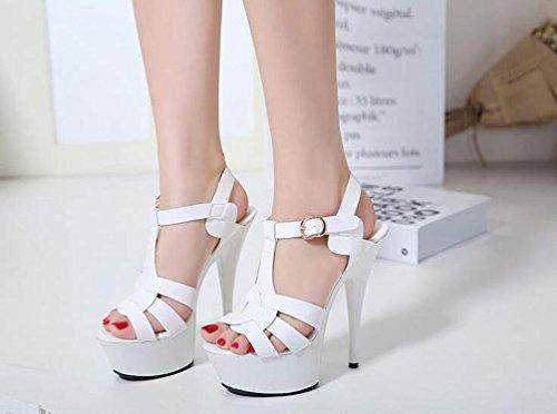 4.5 cm plataforma de correas en T 11 cm talón de aguja de la boda abierto dedo del pie hueco verano señoras sandalias UE tamaño 35-40 White