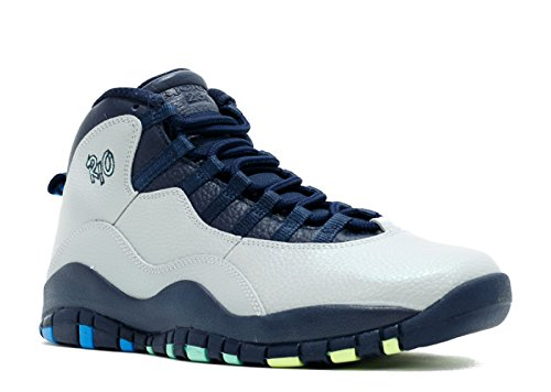 Jordan Air 10 Retro Rio Men's Shoes Wolf Grey/Photo Blue/Obsidian/Green Glow 310805-019 (9.5 D(M) -