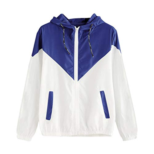 iDWZA Women Brief Patchwork Thin Skinsuit Hooded Zipper Sport Coat with Pockets(L,Blue)