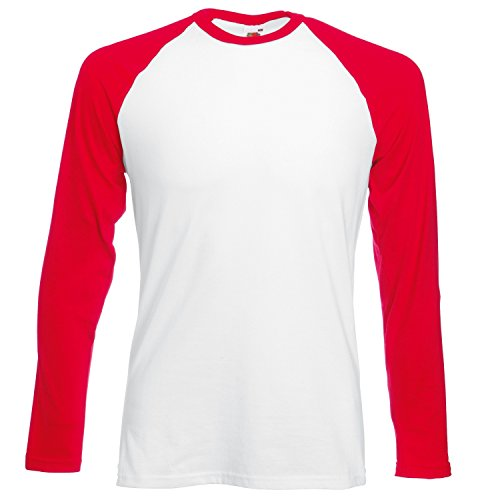 Hombre Long Tee red Sleeve Camisa Fotl White Baseball PSgFXwHxq