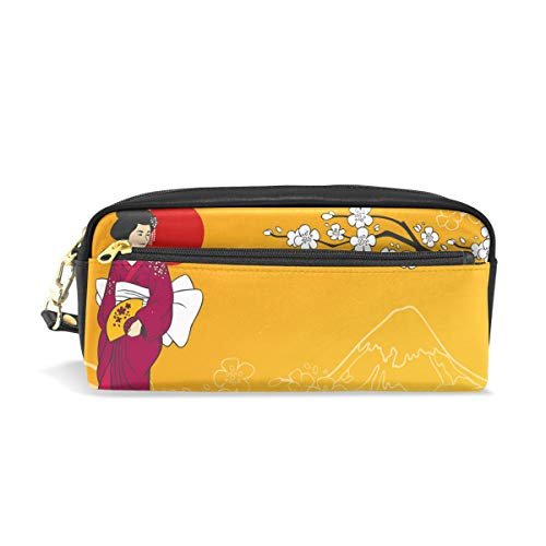 Japanese Geisha Print Pencil Case Large Capacity Pencil Bag with Durable Double Zipper for School Office,Cosmetic Pen Pencil Stationery Pouch Bag -