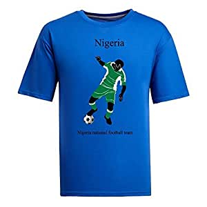 Custom Mens Cotton Short Sleeve Round Neck T-shirt,2014 Brazil FIFA World Cup teams blue by Maris's Diary