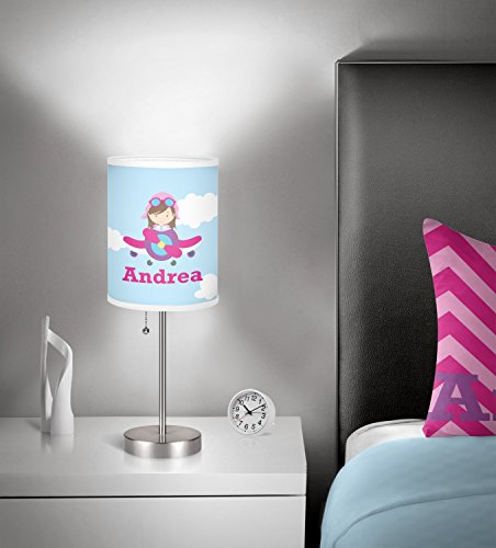RNK Shops Airplane & Girl Pilot 7'' Drum Lamp with Shade Linen (Personalized) by RNK Shops (Image #1)