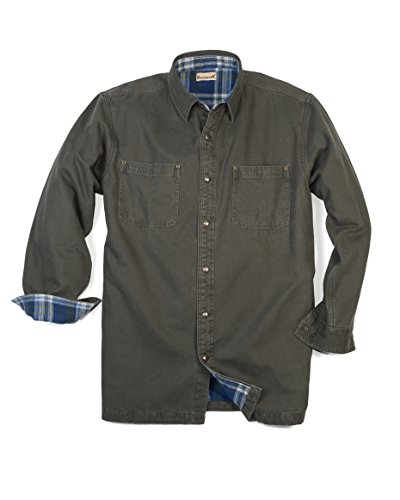 Backpacker Canvas/Flannel Lined Shirt Jacket, Moss Green, 2X Large (Lined Snap)