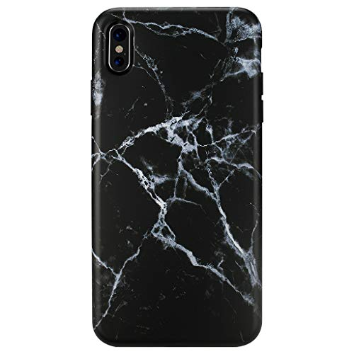 iPhone Xs MAX Case,GOLINK Matte Finish Marble Series Slim-Fit Ultra-Thin Anti-Scratch Shock Proof Dust Proof Anti-Finger Print TPU Gel Case for iPhone Xs MAX 6.5 inch(Black Marble)