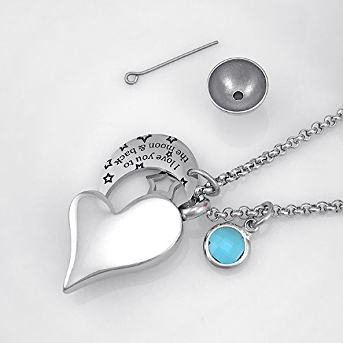 YOUFENG Urn Necklaces for Ashes I Love You to the Moon and Back for Mom Cremation Urn Locket Birthstone Jewelry (July urn necklace) by YOUFENG (Image #6)