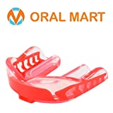 Oral Mart Clear Mouth Guard Sports (Clear/Red) - Adult Sports Mouth Guard for Karate, Boxing, Sparring, MMA, Football, Field Hockey, BJJ, Muay Thai,Soccer, Rugby, Martial Arts