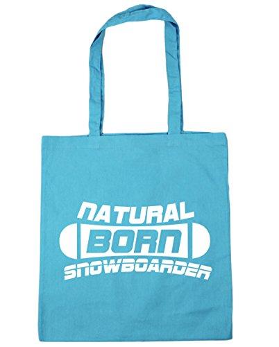 HippoWarehouse Natural Born Snowboarder Tote Compras Bolsa de playa 42cm x38cm, 10litros azul (Surf Blue)