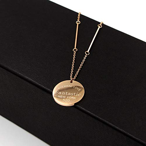 Davitu Fashion Stainless Steel Rose Gold Color Long Square Fantastic Letter Love Round Pendant Necklace Sweater Chain Women Gift