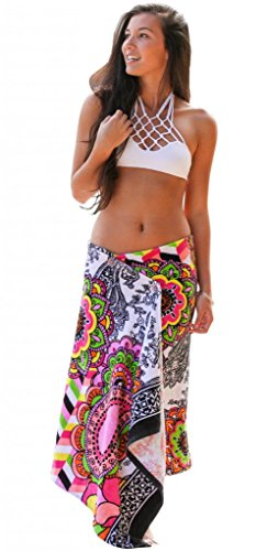 Simple Sarongs Women's Beach Towel Swimsuit Cover-up Wrap One Size Pink Paisley