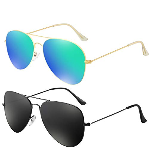 YOSHYA Sunglasses for Men Women Aviator Polarized Metal Mirror UV 400 Lens Protection (Black Grey + Gold Green)