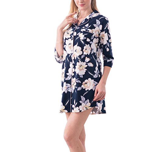 ENJOYNIGHT Women's Sleep Shirt 3/4 Sleeves Pajama Top Button-Front Nightshirt (US (4,6)=Tag M, (Sleeve Floral Nightshirt)